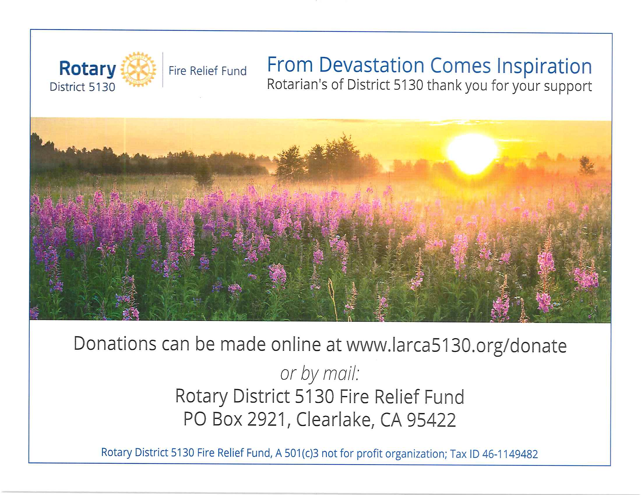 Rotary Fire Relief Fund