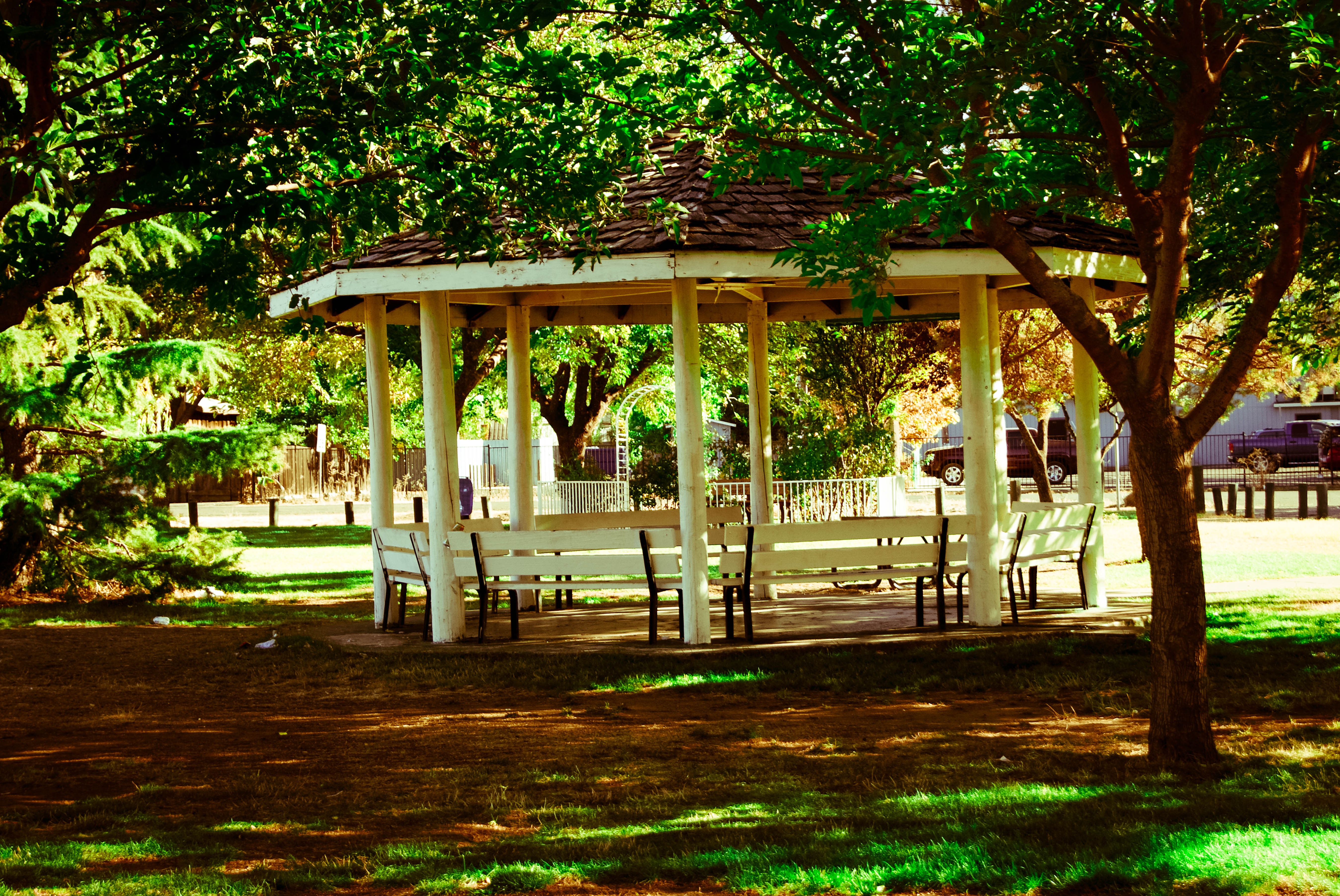 Nice fall day with the gazebo at Austin Park in Clearlake